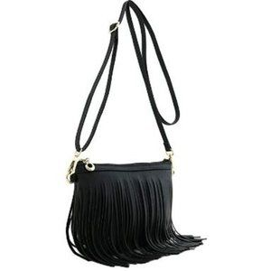 NWT Fringe Crossbody Black Bag with Wrist Strap